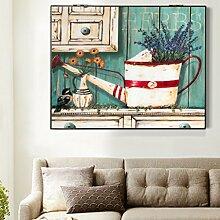 Max Home@ Meter-Box Dekoration Malerei Distribution Box Elektro-Box einfache moderne Block der Wohnzimmer Malerei Frameless Malerei ( Farbe : Right push , größe : 49*69cm )