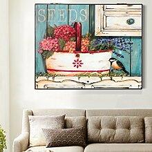 Max Home@ Meter-Box Dekoration Malerei Distribution Box Elektro-Box einfache moderne Block der Wohnzimmer Malerei Frameless Malerei ( Farbe : Right push , größe : 49*59cm )