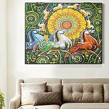 Max Home@ Meter-Box Malerei Distribution Box Elektro-Box einfache moderne Block der Wohnzimmer Malerei Frameless Malerei ( Farbe : Left push , größe : 49*59cm )
