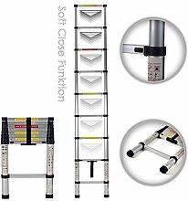 MAXCRAFT 2,60 m Teleskopleiter Aluleiter Soft Close Stehleiter Sprossenleiter ausziehbare Leiter Ausziehleiter Anlegeleiter Mehrzweckleiter EN-131 geprüf