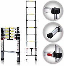 MAXCRAFT 2,60 m Teleskopleiter Aluleiter Stehleiter Sprossenleiter ausziehbare Leiter Ausziehleiter Anlegeleiter Mehrzweckleiter EN-131 geprüf