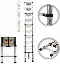 MAXCRAFT 3,20 m Teleskopleiter Aluleiter Soft Close Stehleiter Sprossenleiter ausziehbare Leiter Ausziehleiter Anlegeleiter Mehrzweckleiter EN-131 geprüf