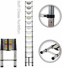 MAXCRAFT 3,80 m Teleskopleiter Aluleiter Soft Close Stehleiter Sprossenleiter ausziehbare Leiter Ausziehleiter Anlegeleiter Mehrzweckleiter EN-131 geprüf