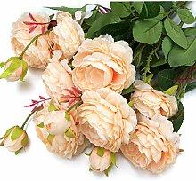 MaxFlowery Künstliche englische Kohl Rose Spray