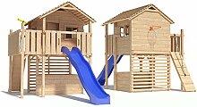 MAXIMO Spielturm Baumhaus Stelzenhaus mit Rutsche, Kletterrampe und Basketballkorb auf 1,50m Podesthöhe