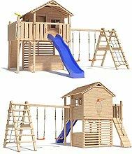 MAXIMO Spielturm Baumhaus Stelzenhaus mit Schaukelanbau, Kletternetz, Rutsche und Basketballkorb auf 1,50m Podesthöhe