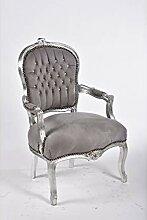 MAXIOCCASIONI Barock-Sessel Gestell Silber Grau
