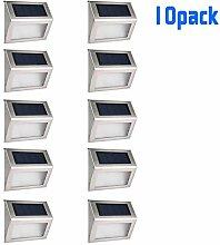 Maxmer 10 Pack LED Solarleuchte Außen Solar Wandleuchte Solarlampe Wasserdichte IP55 Sicherheitslicht Solarlicht Solar Betriebene Außenleuchte, Kabellos/Wetterfeste/Automatisch für Gärten,Türe,Flur,Wege,Terrassen, Patio usw