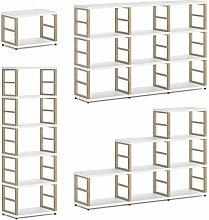 MAXX 1x1 Regalsystem / Bücherwand | modular & flexibel | 60x40x33 cm (LxHxT) - weiß/eiche