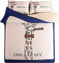 maxyoyo Heimtextilien 100% Baumwolle Beige Super Cool Giraffe mit mit zu Zigarette Bett Bettbezug (inklusive unten Spannbetttuch), baumwolle, beige, Volle Größe