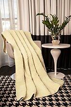 Mayaadi-Home Wolldecke aus Reiner Merino-Schafschurwolle Tagesdecke Bio-Wohlfühldecke 100% Wolle Creme 200x200cm