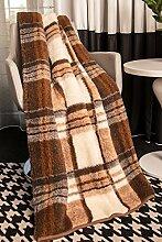 Mayaadi-Home Wolldecke aus reiner Merino-Schafschurwolle Tagesdecke Bio-Wohlfühldecke 100% Wolle Kariert 140x200cm