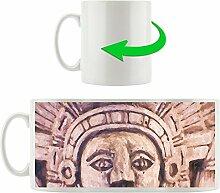 Mayaskulptur, Motivtasse aus weißem Keramik 300ml, Tolle Geschenkidee zu jedem Anlass. Ihr neuer Lieblingsbecher für Kaffe, Tee und Heißgetränke.