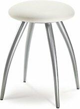 Mayer Sitzmöbel Designhocker 1163 Gestell perlsilber Sitz rund gepolstert Bezug Stoff oder Kunstleder Bezug Kunstleder 26462