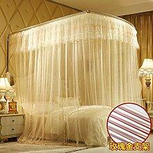 Mayihang Moskitonetz 1,8 m Doppelbett Haushalt Halterung für Boden Bed Net, Provence gelbe Rose Gold (Aluminium Halterung), 1,8*2,2 m Be