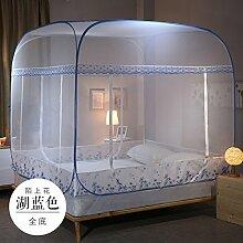 Mayihang Moskitonetz Die scheuen Geist Mongolei Tasche Moskitonetz ist Frei, drei Türen installieren und 1,2 Meter Bett Reißverschluss 1.5/1.8m Doppelbett Haushalt, [Blue] Ganz unten Moshanghua, 1,2 m (4 Fuß) Be