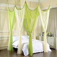 Mayihang Moskitonetz Ehe Moskitonetz 1,8 m Doppelbett Familie Mutter Bett ohne Installation von verschlüsselten Decke Palace Moskitonetz, Grün und Gelb 2 Farben, 1,8 m (6 Fuß) Be
