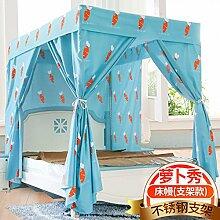 Mayihang Moskitonetz Haushalt Boden Vorhang Schlafzimmer 1,5 Meter Voll geschlossenen Bett Erwachsener Mantel, Rettich zeigen - mit Gerüst, 1,5 m (5 Fuß) Be