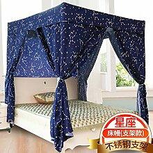Mayihang Moskitonetz Haushalt Boden Vorhang Schlafzimmer 1,5 Meter Voll geschlossenen Bett Erwachsener Mantel, Dunkelblau-Konstellation mit Halterung, 2,0 m (6,6 Fuß) Bed