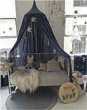 Mayihang Moskitonetz Home Bett aus reiner Baumwolle reine Farbe Kinder Haus Kuppelzelt Bett Vorhang Bett Net, Blau, Höhe 240 cm