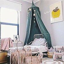 Mayihang Moskitonetz Kinder Zelt Baby Kuppel hängenden Mosquito Net Kinder Zimmer Bett Zelt Zelt Zelt Zelt, schwärzlich grün, Höhe 240 cm, unteren Saum 270 Cm