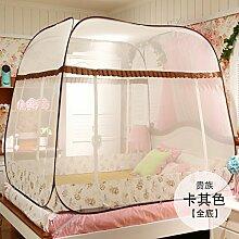 Mayihang Moskitonetz Kostenlose Installation Paket Mongolei Netze drei Falttür Reißverschluss 1,2 m 1.5/1.8M unteres Bett Zuhause, [Bottom] Alle Adligen Khaki, 1,5 m (5 Fuß) Be