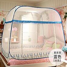 Mayihang Moskitonetz Kostenlose Installation Paket Mongolei Netze drei Falttür Reißverschluss 1,2 m 1.5/1.8M unteres Bett Home, Lavendel Blau [Alle unteren], 1,5 m (5 Fuß) Be