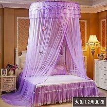 Mayihang Moskitonetz Kuppeldach Moskitonetz 1.5M1.8M Doppelbett Haushalt Landung Palace 1,2 Meter Princess Wind Kostenlose Installation von Bett Mantel, die Prinzessin Traum von einem großen runden Lila, 2,0 m (6,6 Fuß) Bed