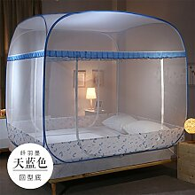 Mayihang Moskitonetz Mongolei Tasche Moskitonetz Drei frei Tür 1.2 Meter Bett Reißverschluss 1.5/1.8 M Double Haushalt, Fibre Plume [Blau] unten, 2,0 m (6,6 Fuß) Bed