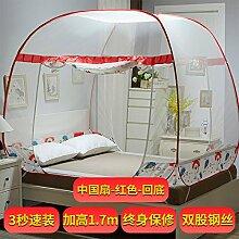 Mayihang Moskitonetz Mongolei Tasche Moskitonetz Kostenlos 1,2 Meter Falten 1.5 Drei offenen Reißverschluss 1,8 m Doppelbett Haushalt, Chinesischen Lüfter Rückseite unten rot, 2,0 m (6,6 Fuß) Bed