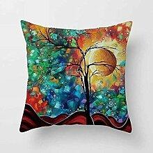 MAYUAN520 Zierkissen Bunte Baum Bettwäsche Baumwolle Kissenbezug Werfen Kissen Sofa Home Dekorative, Stil 5