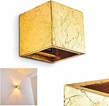 Mazara Wandleuchte Keramik Goldfarben - Eckige