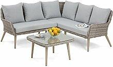 Maze Rattan par-603010klein Paris Ecke Sofa-Set in einem Geflecht–Licht Grau Ton