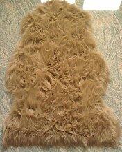 MB Warenhandel24 Schaffell Lammfell Fell Teppich Imitat Kunstfell Auflage Bettvorleger Schaf Lamm ca. 60x90 cm (Camel)
