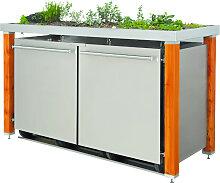 MB20 Mülltonnenbox Holz/Edelstahl 120/240 Liter