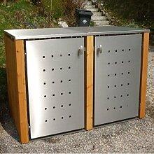 MB5 2er Mülltonnenbox Holz - Edelstahl 120 / 240