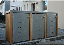 MB6 3er Mülltonnenbox Holz - Edelstahl 120 / 240