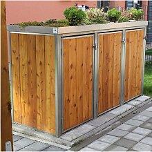 MB8 3er Mülltonnenbox Holz - Edelstahl 120 / 240