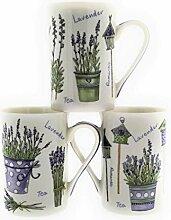 MC Trend 3er Set Becher Lavendel-Dekor Kaffee Tee