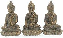 MC Trend 3er Set Buddha Skulptur Ton in Antik Gold