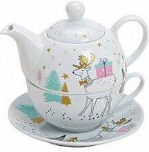 MC Trend 4er Set Becher Merry Christmas Baum Weihnachtskugeln Dekor Wei/ß Gold edle Kaffee Tee Kakao Tassen Winter Weihnachten Geschenk-Idee