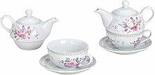 MC Trend 3er Set Teekanne mit Tasse und Untertasse