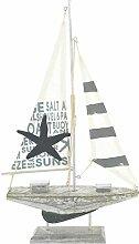 MC Trend Holz Schiff Segel-Boot Standfuß Maritim