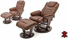 MCA furniture Pasadena Relaxsessel 64071BK1 Relaxer aus Rindsleder incl. Hocker Gestell braun