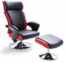 MCA furniture Relaxsessel mit schwarz rotem Kunstleder 64007SR6 Bente Relaxer mit Hocker TV - Sessel mit verchromten Gestell und Drehfunktion