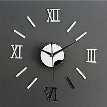 MCC Kreative 3D DIY Wanduhren Personifizierte Stilvolle Einrichtung Römische Ziffern Verdickte Spiegel Mute Uhren , a