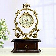 MCC Messing Tischuhr Europäische Antike Stil Stille Moderne Wohnzimmer Schlafzimmer Dekoration Mode Kreative Uhr , coffee