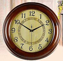 MCC Runde Massivholz Wanduhr Europäische antike moderne einfache kreative Persönlichkeit Geschenk Dekoration Schlafzimmer Wohnzimmer Fraxinus Mandshurica Uhr , brown