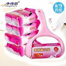 MCC Schrägen Riss entfernen Fusseln Hund Haare sauberer Lint Roller Hair Remover Bürste 18 Papierkern Aufkleber , pink