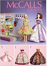 McCall 's Crafts Schnittmuster 6903Puppe Kleidung, Accessoires, Display Boxen & Kleiderbügel + Gratis Minerva Crafts Craft Guide